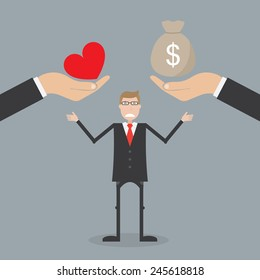 Love and money. Business concept