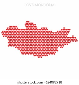 Love Mongolia. Country map made up of heart icons.