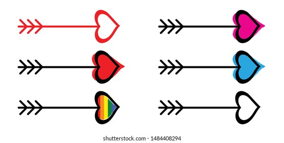 Love month arrow arrows with heart boy girl baby valentines valentine Valentine's day wedding vector fun funny icon icons sign signs romantic romance symbol rainbow homo gay hlbt lgbt lhbt lgbti lgbtq