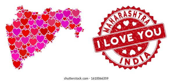 Love mosaic Maharashtra State map and grunge stamp watermark with I Love You text. Maharashtra State map collage constructed with scattered red heart symbols.