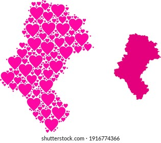Love mosaic and solid map of Silesia Province. Mosaic map of Silesia Province is created with pink lovely hearts. Vector flat illustration for love abstract illustrations.