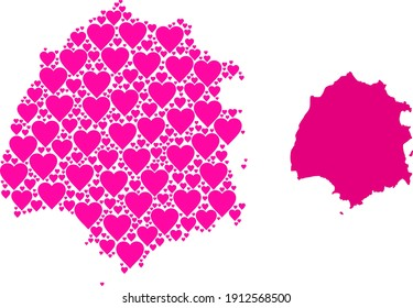 Love mosaic and solid map of Thassos Island. Mosaic map of Thassos Island formed with pink valentine hearts. Vector flat illustration for love abstract illustrations.