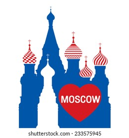 I love moscow, Moscow symbol - Saint Basil's Cathedral, Russia