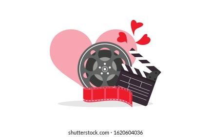 Love movie heart cinema film creative simple logo template vector illustration