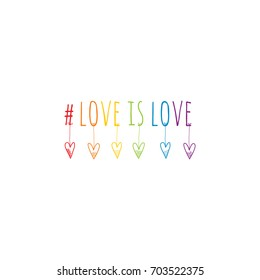 #love is love multicolor doodle illustration with heart shapes on white background