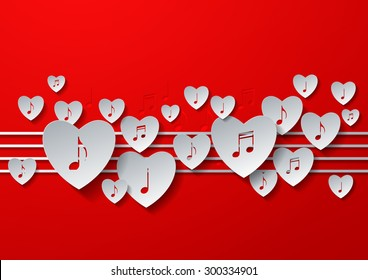 Love Music Concept Design with White Paper on Red Background, Vector Illustration