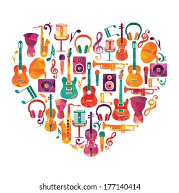 Love Music Heart. Musical instruments on heart shape