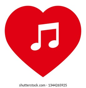 Love music icon. Vector icon of heart with musical note inside