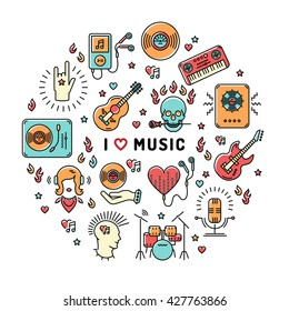 I love music - inspiring quote. Music infographics, trendy icons line art style. Colorful isolated illustration for musical poster, cards, banners, flyers, brochures.