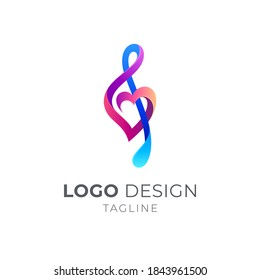 Love music logo, Music note and heart shape with 3d logo concept in multiple color
