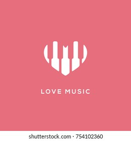 Love music logo template design. Vector illustration.