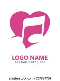 Love music logo template vector