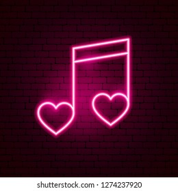 Love Music Neon Sign. Vector Illustration of Romance Promotion.