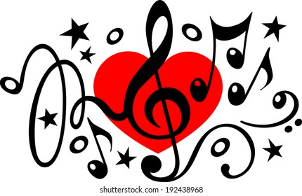 Love music - treble clef - music notes - heart
