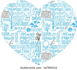 I Love Music - various music icons arranged in heart shape