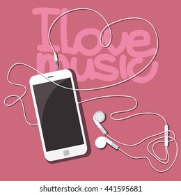 I love music. White mobile phone with headphones on a pink table.