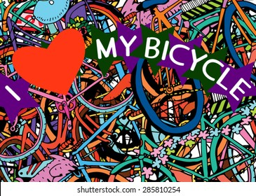 I Love My Bicycle Colage