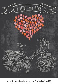 I love my bike. A greeting card or a postcard template with hand-drawn ladies bicycle on grungy chalkboard background.