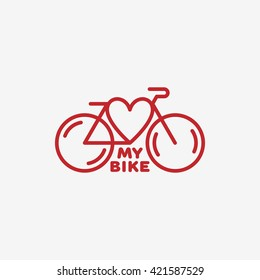 Love my bike label template design. Vector illustration.