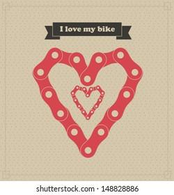 i love my bike over dotted background vector illustration
