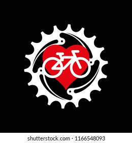 I Love My Bike Poster, Print or T-Shirt Design. Vector Illustration. Chainring, Heart and Bicycle Icon.