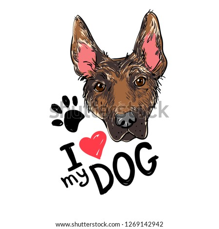 a706aea02813 I love my dog. The head of the dog with the inscription. Vector doodle  illustration, t-shirt design. - Vector