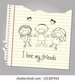 i love my friends over leaf notebook background vector illustration
