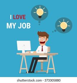I love my job. Businessman working  on computer and get idea. Cartoon Vector Illustration.