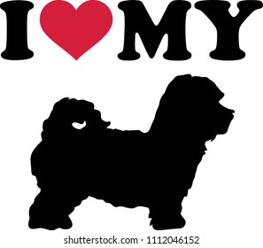 I love my Maltipoo with red heart and silhouette