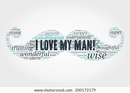 I Love My Man Word Cloud Concept In Vector On Grey Background