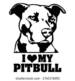 I love my pitbull tshirt design vector