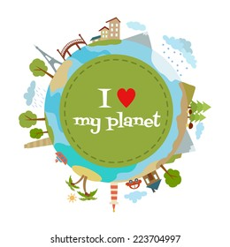 I love my planet typography in modern style. Vector design poster.