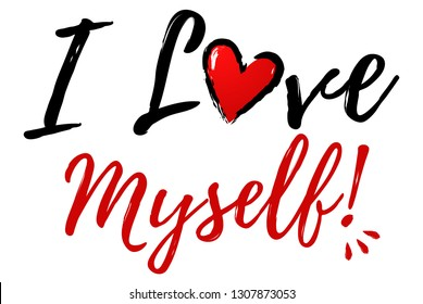 I love Myself Illustration with heart