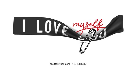 i love myself on pinned black ribbon illustration