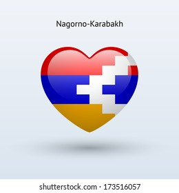 Love Nagorno-Karabakh symbol. Heart flag icon. Vector illustration.