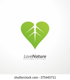 Love nature creative logo design template. Simple green leaf and heart shape symbol. Ecology concept. Think green.