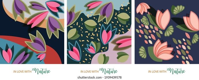 In love with Nature. Floral leaf and flower elements to support Earth and Nature and share some love to the world of plants and animals. Pastel colors. Spring and Summer time.
