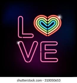 LOVE neon sign with rainbow heart shape