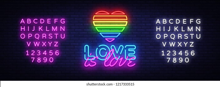 Love is Love neon text vector design template. LGBT neon logo, light banner design element colorful modern design trend, night bright advertising. Vector illustration. Editing text neon sign