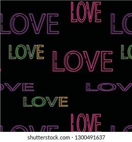 Love neon vector pattern
