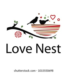 Love nest with two little birds. Colorful logo.