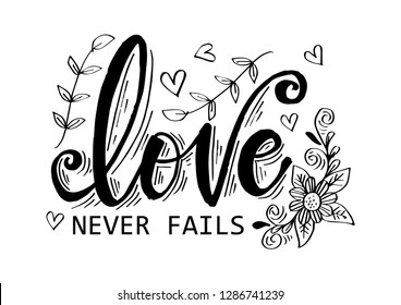 Love never fails hand lettering inscription. Motivational quote.