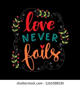 Love never fails. Motivational quote poster