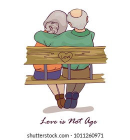 Love is not age. Happy couple of elderly people. Family Values. Grandma and grandfather are sitting on the bench. Husband and wife hugging. Valentine postcard. Vector illustration.