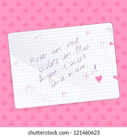 Love note with a handwritten poem written on a sheet of paper. Vector illustration.