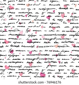 Love note Seamless text pattern with hearts. Text backgrounds applicable in printing, textiles , art objects , clothing , wallpaper , computer screensavers , games and applications .
