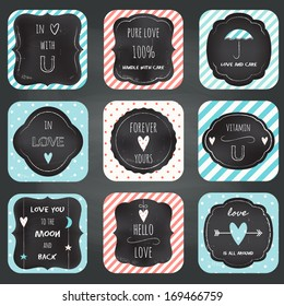 Love Notes Cards Chalkboard Typography Design. Stripes and Dots Seamless Patterns Included.