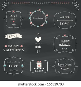 Love Notes, Design Elements Set, St. Valentine's Day. Chalkboard Style. Vector EPS 10