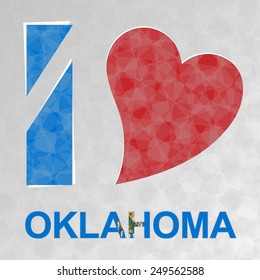 I Love Oklahoma, heart and text with flag.