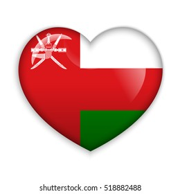Love Oman. Flag Heart Glossy Button